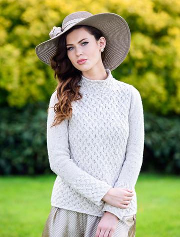 Wool Cashmere Aran Trellis Sweater - Chalkstone