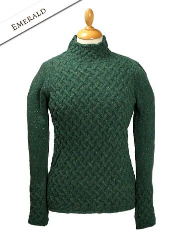Wool Cashmere Aran Trellis Sweater - Emerald