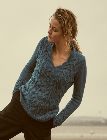 Wool Cashmere Cable V-Neck Sweater - Teal Harbour