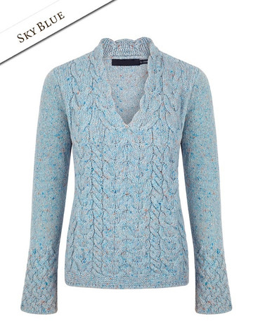 Wool Cashmere Cable V-Neck Sweater - Sky Blue