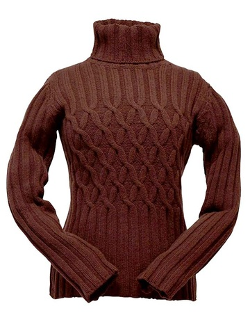 Wool Cashmere Polo Neck Sweater with Criss Cross Pattern - Burgundy