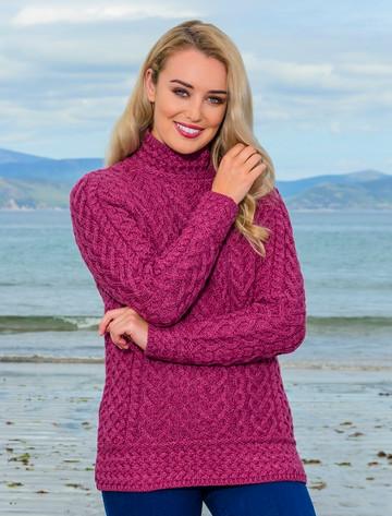 Super Soft Polo Neck Aran Sweater - Magenta