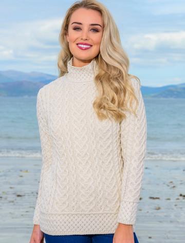 Super Soft Polo Neck Aran Sweater - Natural White