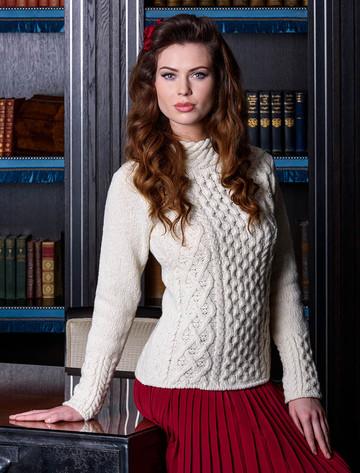 Women's Wool Cashmere Aran Mock Turtleneck Sweater - White