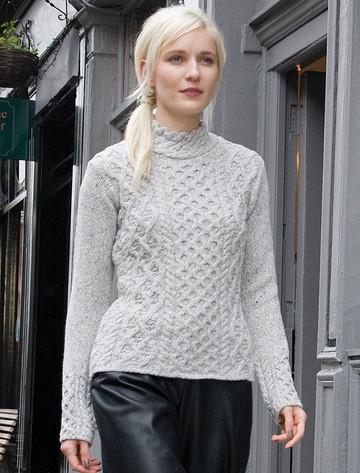 Women's Wool Cashmere Aran Mock Turtleneck Sweater - Chalkstone