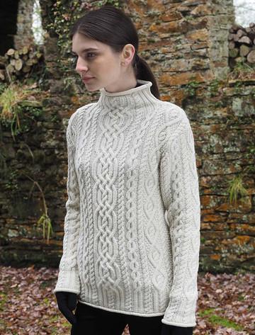 Super Soft Aran Roll Neck Sweater - White