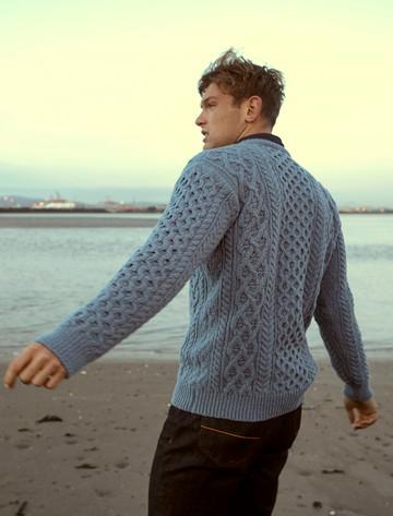 Wool Cashmere Aran Sweater - Dusk Blue