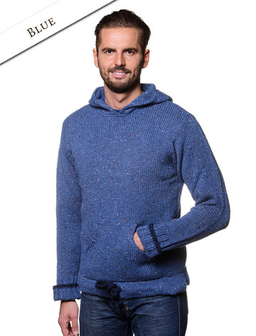 Men's Wool Hoodie with Pouch Pocket - Blue