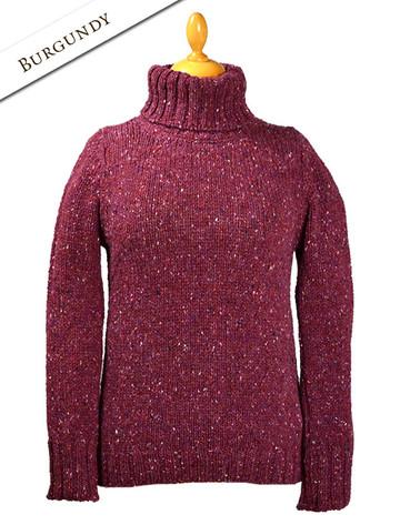 Donegal Turtleneck Sweater - Burgundy