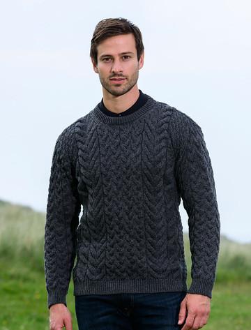 Super Soft Aran Crew Neck Sweater - Slate Grey