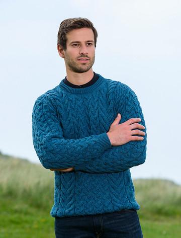 Super Soft Aran Crew Neck Sweater - Irish Sea