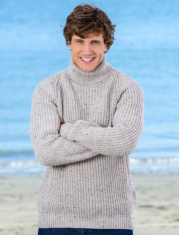 Fisherman's Merino Ribbed Turtleneck Sweater - Oatmeal