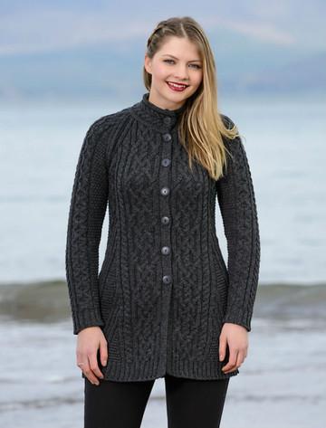 Merino Wool Flared Coat - Charcoal