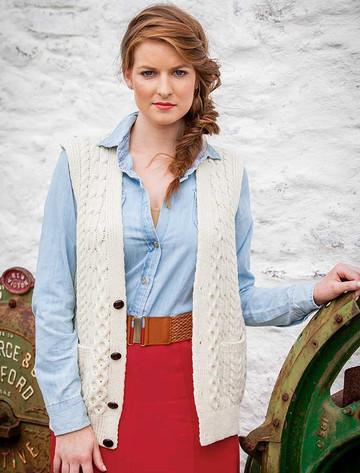 Women's V-Neck Waistcoat - Natural White