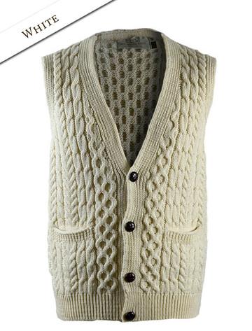 Men's V-Neck Waistcoat - Natural White