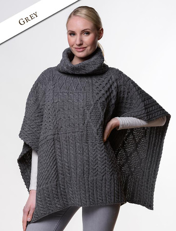 Merino Wool Patchwork Poncho with Collar - Grey