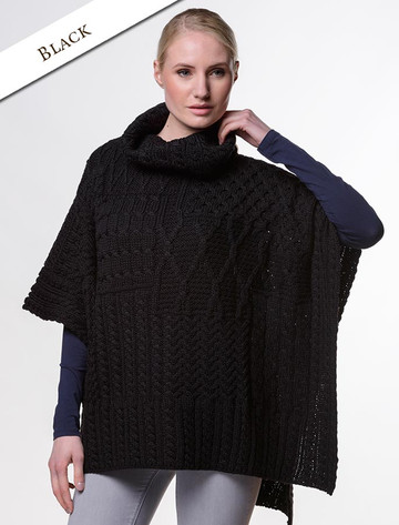 Merino Wool Patchwork Poncho with Collar - Black