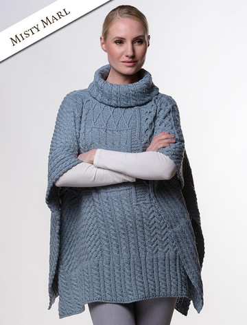 Merino Wool Patchwork Poncho with Collar - Misty Marl