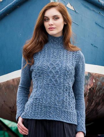 Wool Cashmere Patchwork Aran Sweater