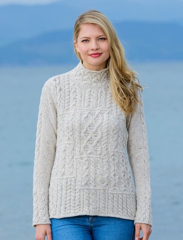 Wool Cashmere Patchwork Aran Sweater - Chalk