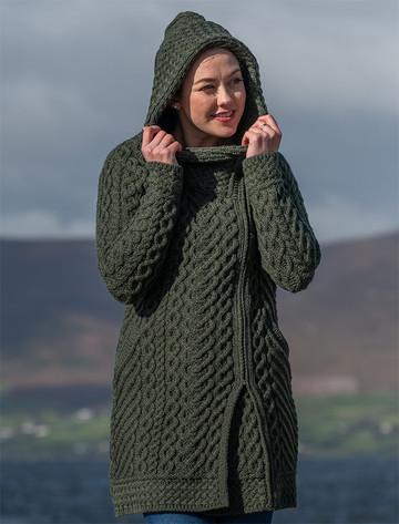 Claddagh Heart Design Side Zip Coatigan - Army Green