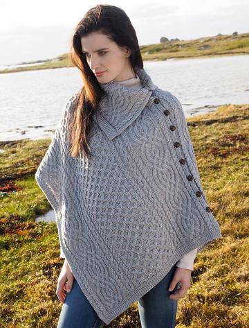 Ladies Merino Button Poncho - Soft Grey