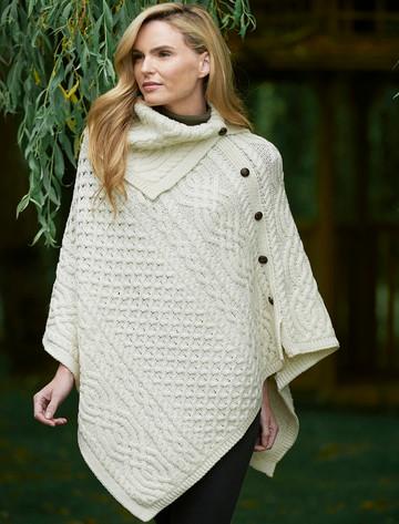 Ladies Merino Button Poncho - Natural White