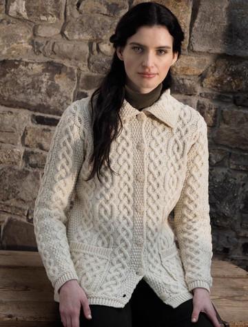 Ladies Merino Button Cardigan - Natural White
