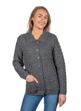 Ladies Merino Button Cardigan - Charcoal