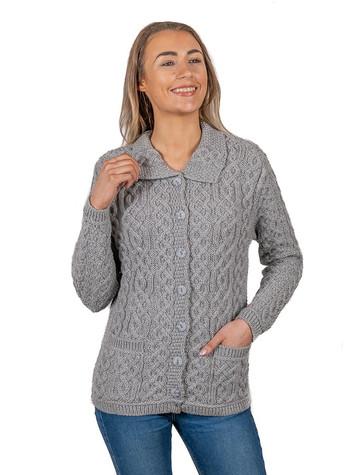Ladies Merino Button Cardigan - Soft Grey