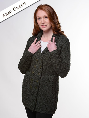 Double Breasted Aran Coat - Army Green