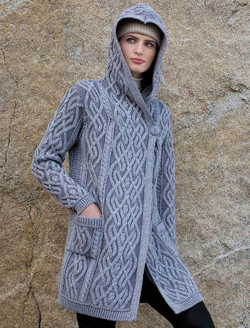 Plaited One Button Coat with Hood - Soft Grey