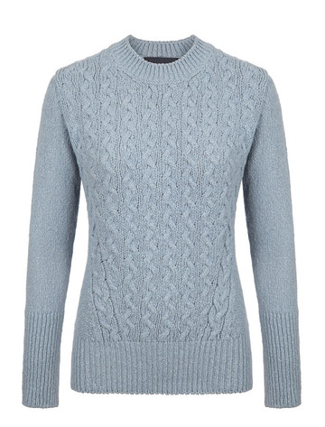 Wool Cashmere Cable Round Neck Sweater - Duck Egg