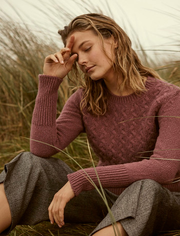 Wool Cashmere Cable Round Neck Sweater - Dusky Rose