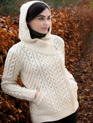 Aran Cable Knit Hoodie With Celtic Side Zip - Natural White