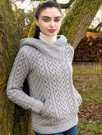 Aran Cable Knit Hoodie With Celtic Side Zip - Soft Grey