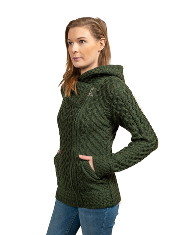 Aran Cable Knit Hoodie With Celtic Side Zip - Army Green