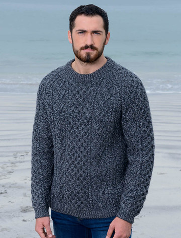 Mens Handknit Honeycomb Stitch Sweater - Charcoal
