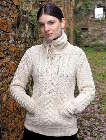 Super Soft Aran Cowl Neck Sweater - White