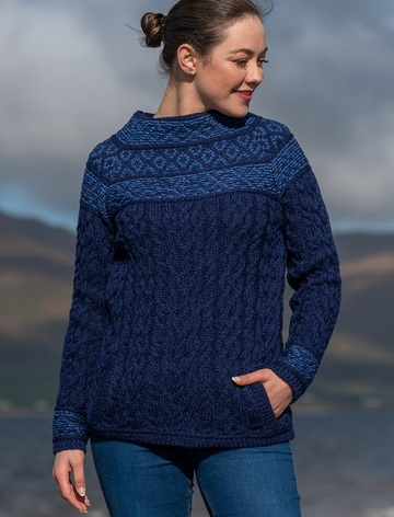Women's Merino Fair Isle Sweater With Pockets - Midnight