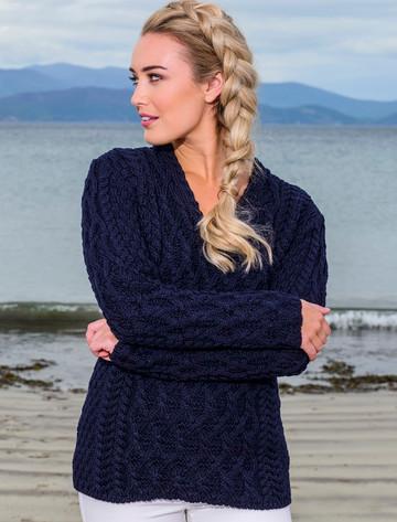 Lattice Cable V Neck Sweater - Navy