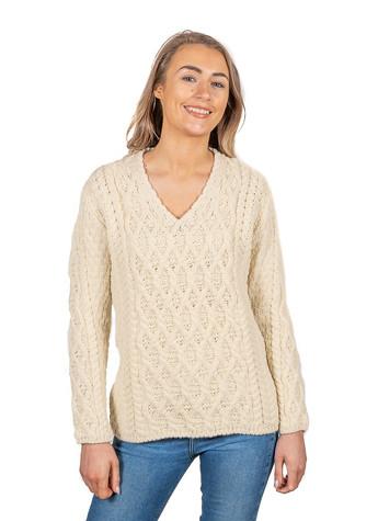 Lattice Cable V Neck Sweater - Natural White