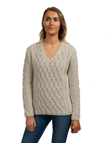 Lattice Cable V Neck Sweater - Silver