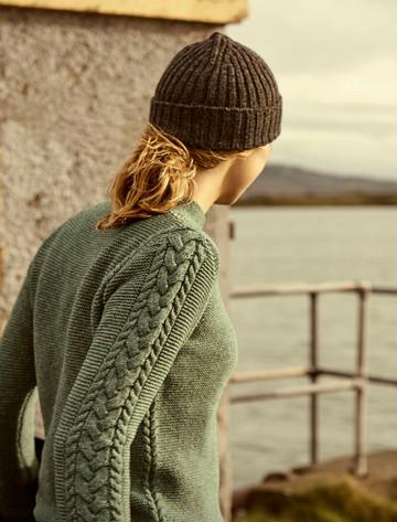 Luxury Fine Wool Aran Sweater - Sea Foam Green