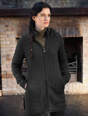 Merino Hooded Aran Coat - Charcoal