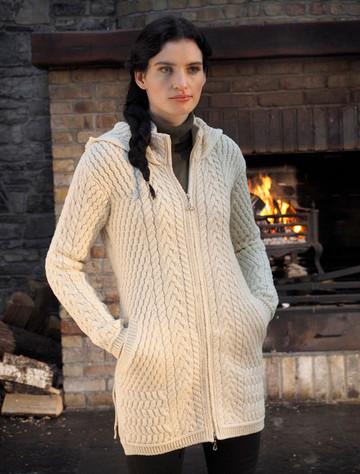 Merino Hooded Aran Coat