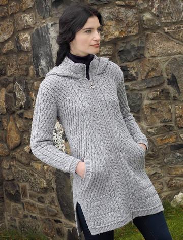 Merino Hooded Aran Coat - Soft Grey