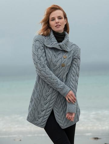 Ladies Super Soft Long Cable Knit Aran Cardigan  - Ocean Grey