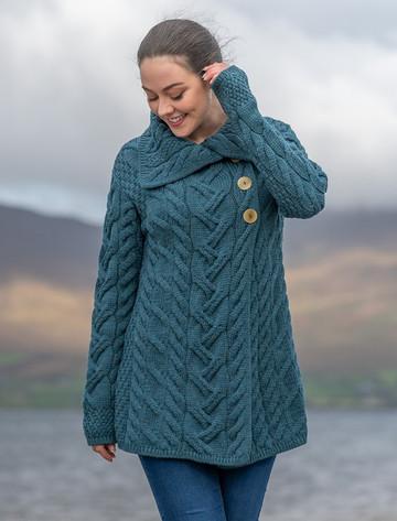 Ladies Super Soft Long Cable Knit Aran Cardigan  - Irish Sea