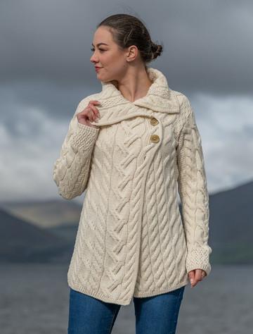 Ladies Super Soft Long Cable Knit Aran Cardigan  - Classic Aran - Back